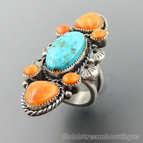 Handcrafted turquoise spiny oyster sterling silver long cluster ring - size 9