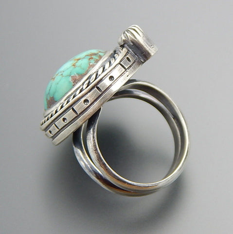 Handcrafted turquoise sterling silver split shank bolt ring - size 8.25