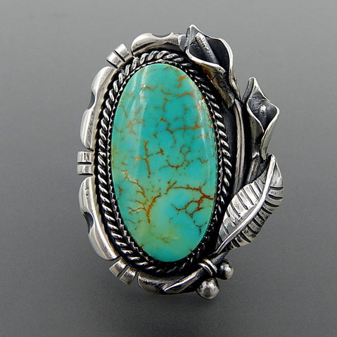 Handcrafted turquoise sterling silver Cala Lilly soutwhestern ring - size 7