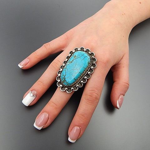 Handcrafted turquoise sterling silver rope swirls statement wide ring - size 7.75