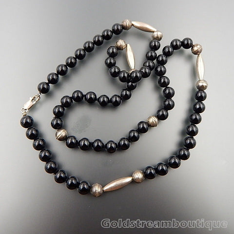 Handcrafted sterling silver 8 mm black onyx beaded necklace 27""