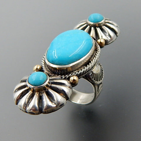 Handcrafted blue turquoise 14k gold & sterling silver complex elongated ring - size 9