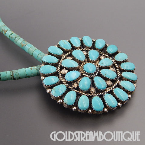 Native American Jerry Wilma Begay Navajo 925 silver turquoise cluster round pin beaded necklace 18""