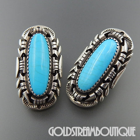 Hand made native american navajo sterling silver oval turquoise intricate post earrings