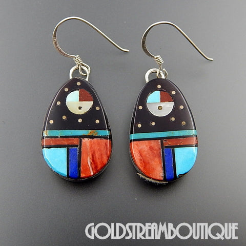 NATIVE AMERICAN VINTAGE ZUNI STERLING SILVER MULTI GEMSTONE MOSAIC INLAY SUN FACE HOOK EARRINGS