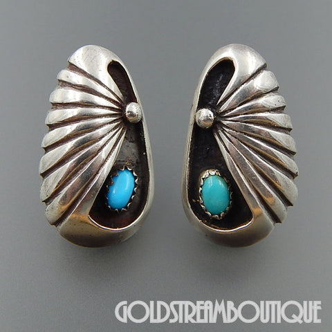 NATIVE AMERICAN VINTAGE NAVAJO STERLING SILVER TURQUOISE SHADOWBOX SCALLOP POST EARRINGS