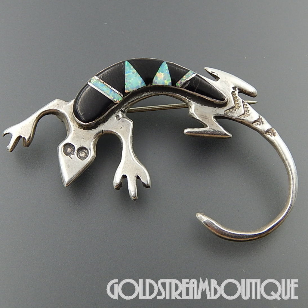 NATIVE AMERICAN MELISSA YAZZIE NAVAJO STERLING SILVER OPAL AND BLACK ONYX INLAY LIZARD PIN