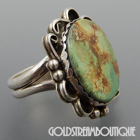 NATIVE AMERICAN VINTAGE NAVAJO STERLING SILVER STUNNING GREEN AMERICAN TURQUOISE RING SIZE 13.25