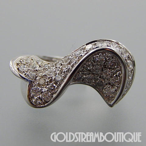14K White gold 1.85 TCW diamonds fancy wavy band ring size 7.25
