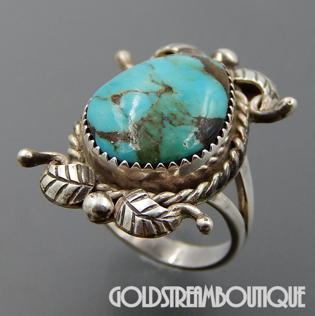 Native American Mary Chavez navajo sterling silver gorgeous american turquoise feathers ring size 6.5
