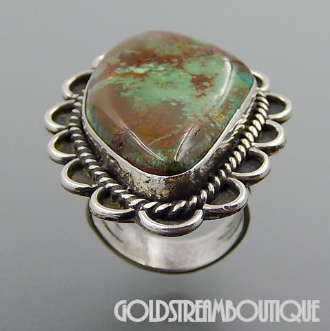 Native American Navajo signed Lly sterling silver green american turquoise huge ring size 9.25