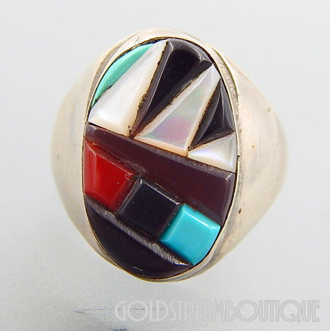 NATIVE AMERICAN VINTAGE ZUNI STERLING SILVER MULTI GEMSTONE MOSAIC INLAY OVAL RING SIZE 10