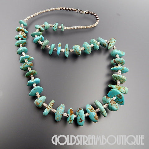 NATIVE AMERICAN VINTAGE SANTO DOMINGO PUEBLO STERLING SILVER TURQUOISE HEISHI BEADS NECKLACE 27""