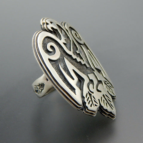 Handcrafted sterling silver overlay ethnic eagle wide ring size 11