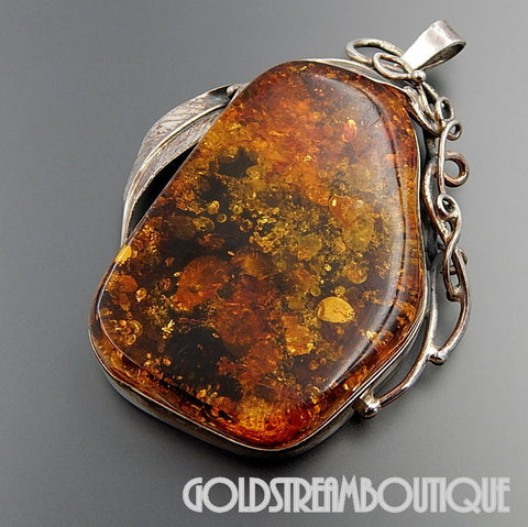 Intaglio Carved Rose Honey Oval Baltic Amber Sterling Silver Pendant with Chain