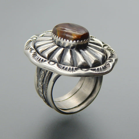 Handcrafted sterling silver oval fire agate fluted stamped saddle ring size 8.5