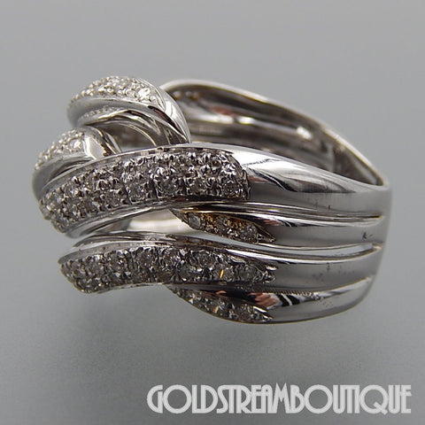 Italy 18k white gold 1.75 tcw diamonds braided wide dome cocktail ring size 7.75