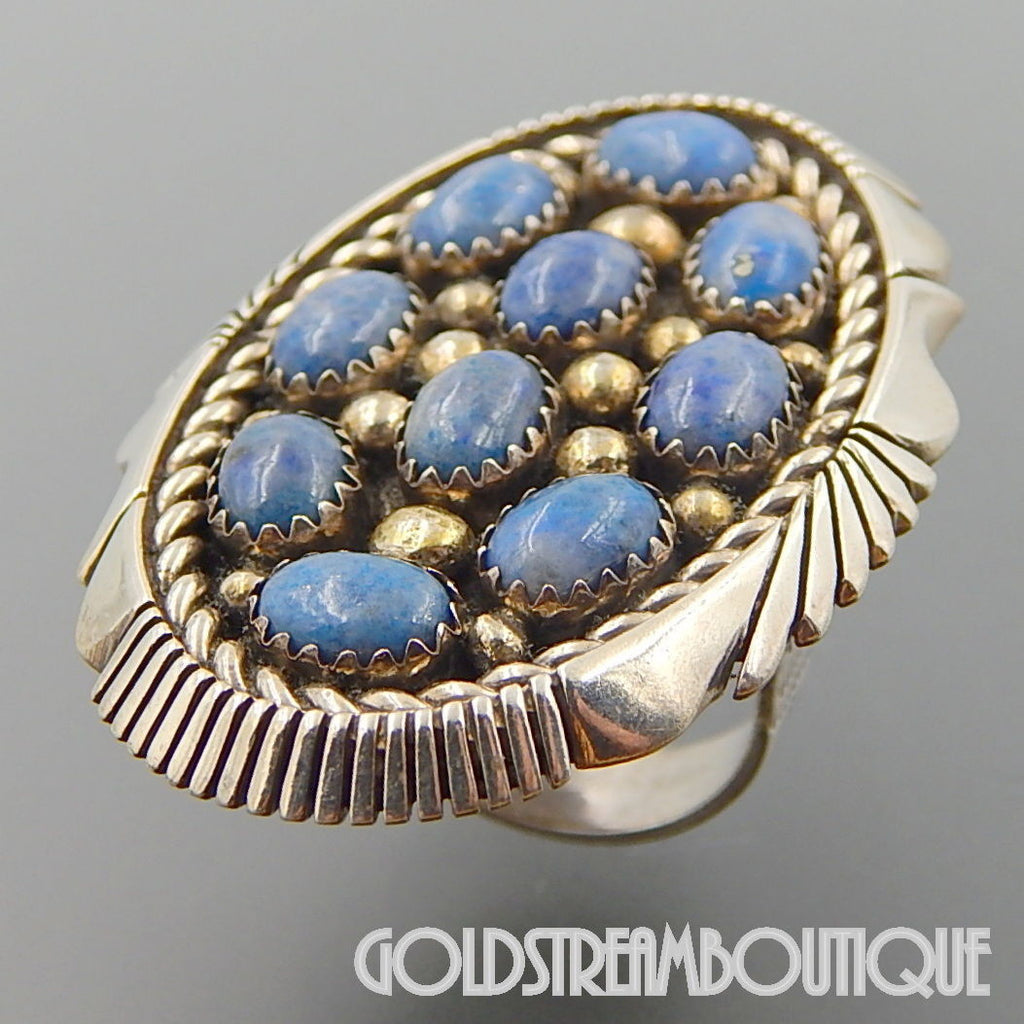 Native American Keith James navajo 925 silver denim lapis lazluli cluster large oval ring size 7.25