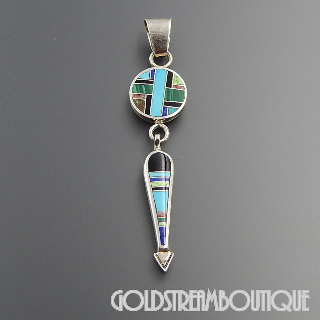 Native American Navajo signed sterling silver multi gemstone mosaic inlay arrow dangle pendant