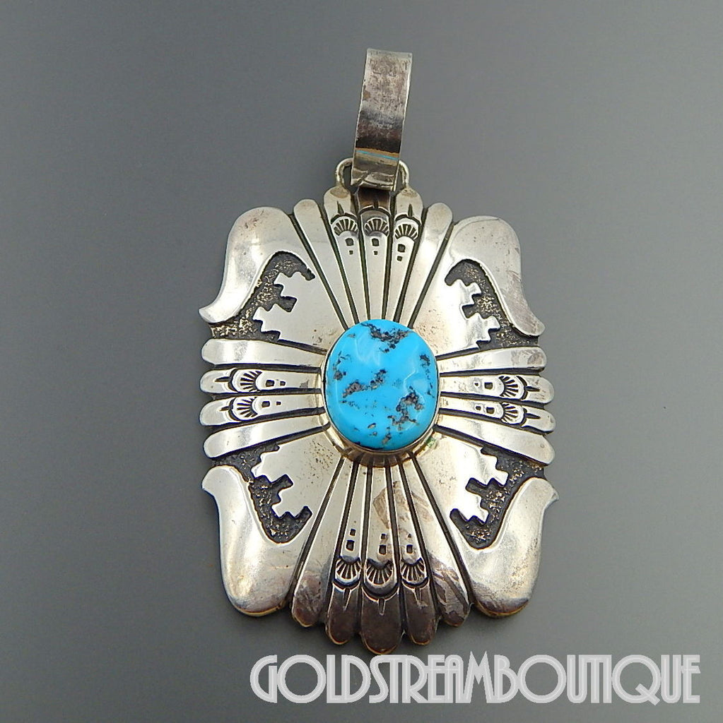NATIVE AMERICAN THOMAS SINGER NAVAJO STERLING SILVER KINGMAN TURQUOISE STUNNING OVERLAY PENDANT
