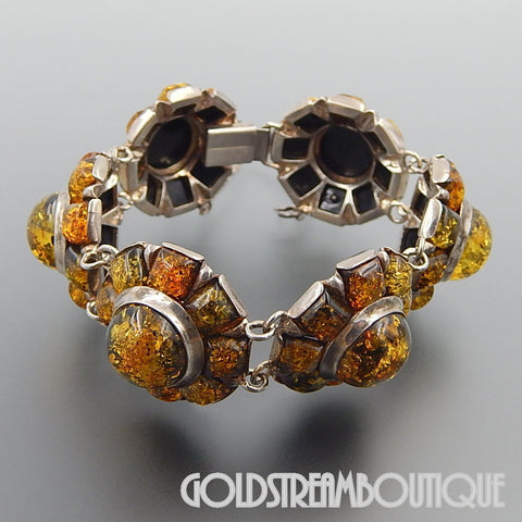 VINTAGE STERLING SILVER BALTIC AMBER FLOWER DOMED LINK STATEMENT BRACELET
