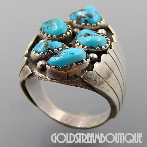 NATIVE AMERICAN NILA COOK JOHNSON NAVAJO 925 SILVER TURQUOISE NUGGETS WIDE MEN'S RING SIZE 9.75