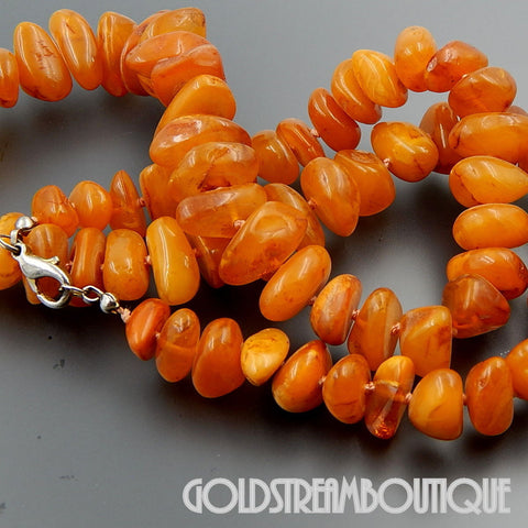 "VINTAGE BALTIC BUTTERSCOTCH AMBER BEADS NECKLACE 24"" 54.8 GRAM"