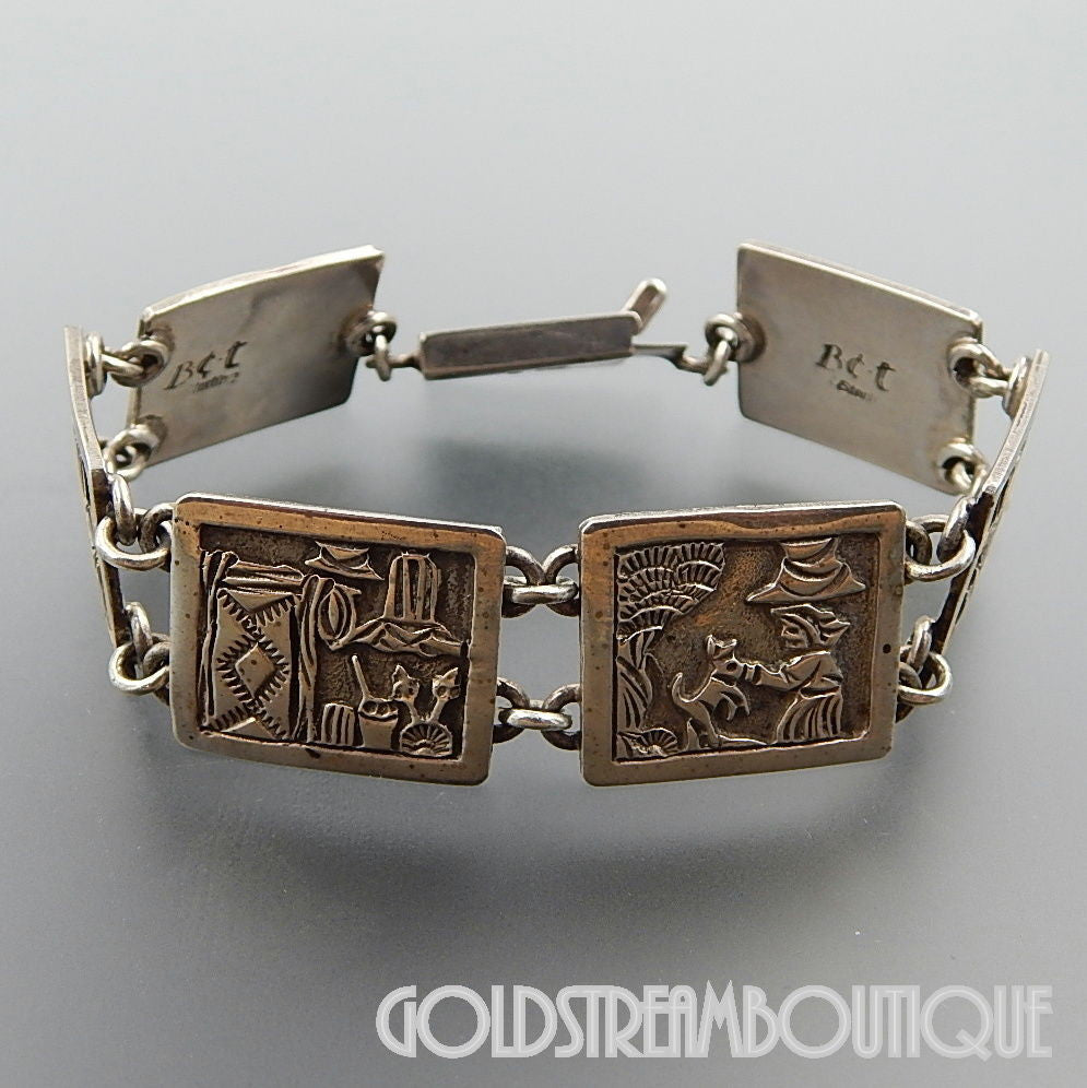 Native American Floyd Becenti, Jr Navajo sterling silver overlay storyteller panel wide bracelet