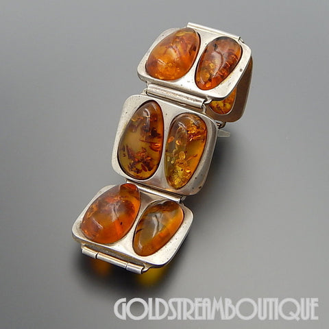 VINTAGE POLAND STERLING SILVER PEAR SHAPED BALTIC AMBER WIDE GRAND BRACELET 8""