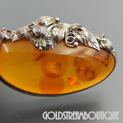 VINTAGE STERLING SILVER BALTIC AMBER FLORAL STATEMENT PIN BROOCH
