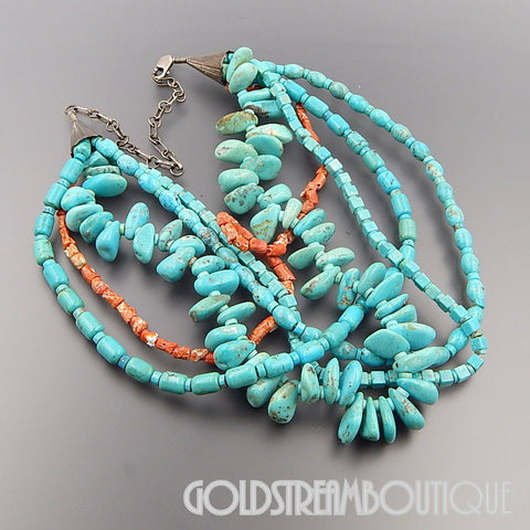 Native American Vintage Navajo 925 silver turquoise coral multi strand statement bead necklace