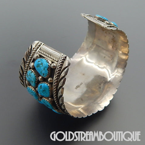 NATIVE AMERICAN VINTAGE NAVAJO STERLING SILVER STUNNING AMERICAN TURQUOISE NUGGETS CUFF BRACELET