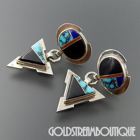 Native American VINTAGE C. WEBSTER NAVAJO STERLING SILVER GEMSTONE INLAY ARROWHEAD POST EARRINGS