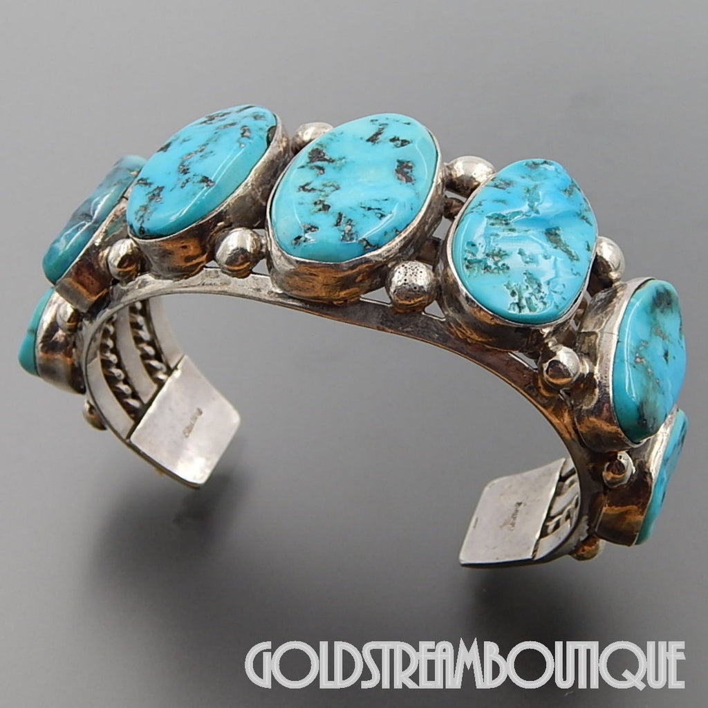 NATIVE AMERICAN VINTAGE NAVAJO 925 SILVER MAGNIFICENT TURQUOISE HEAVY STATEMENT CUFF BRACELET