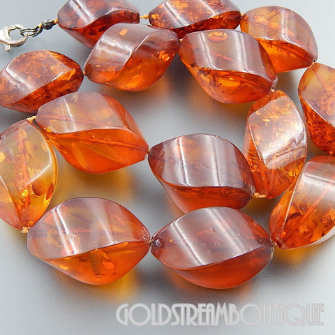 VINTAGE BALTIC RICH COGNAC COLOR AMBER GRADUATED BEADS NECKLACE 925 SILVER CLASP