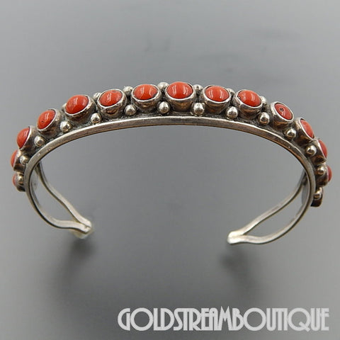 NATIVE AMERICAN RONNIE AGUILAR KEWA STERLING SILVER CORAL BEADED SPLIT SHANK CUFF BRACELET 6.5""