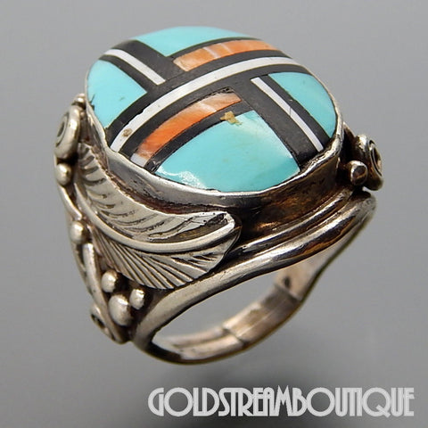NAVAJO STERLING SILVER GEMSTONE MOSAIC INLAY FEATHER OVAL MEN'S RING SIZE 9.75