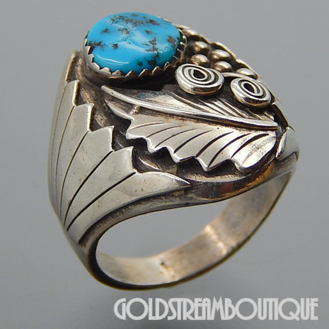 NATIVE AMERICAN RUNNING BEAR SHOP 925 SILVER OVAL KINGMAN TURQUOISE FEATHER BEADS MEN'S RING SIZE 11
