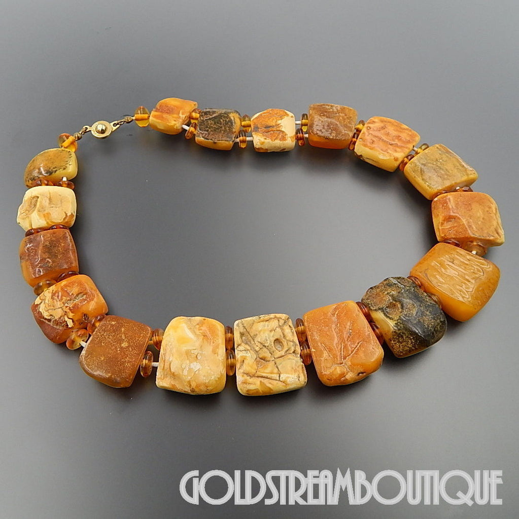 VINTAGE BALTIC BUTTERSCOTCH EGG YOLK HONEY AMBER BEADS STRETCHING NECKLACE