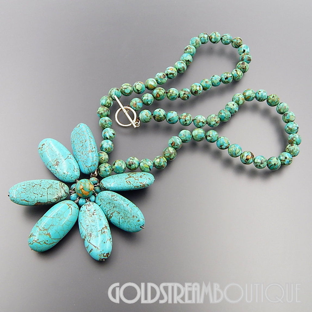 Sterling silver genuine turquoise wire flower pendant & faux ...
