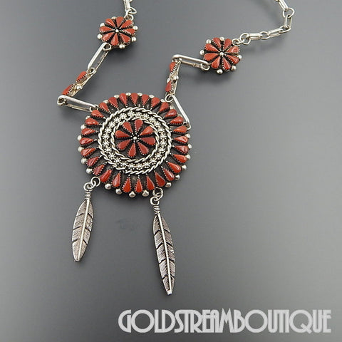 Native American A. Pinto  native american zuni sterling silver red coral flower cluster feather chain necklace 20""