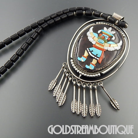 Native American Beverly Etsate zuni sterling silver large gemstone kachina reversible necklace 26.5""