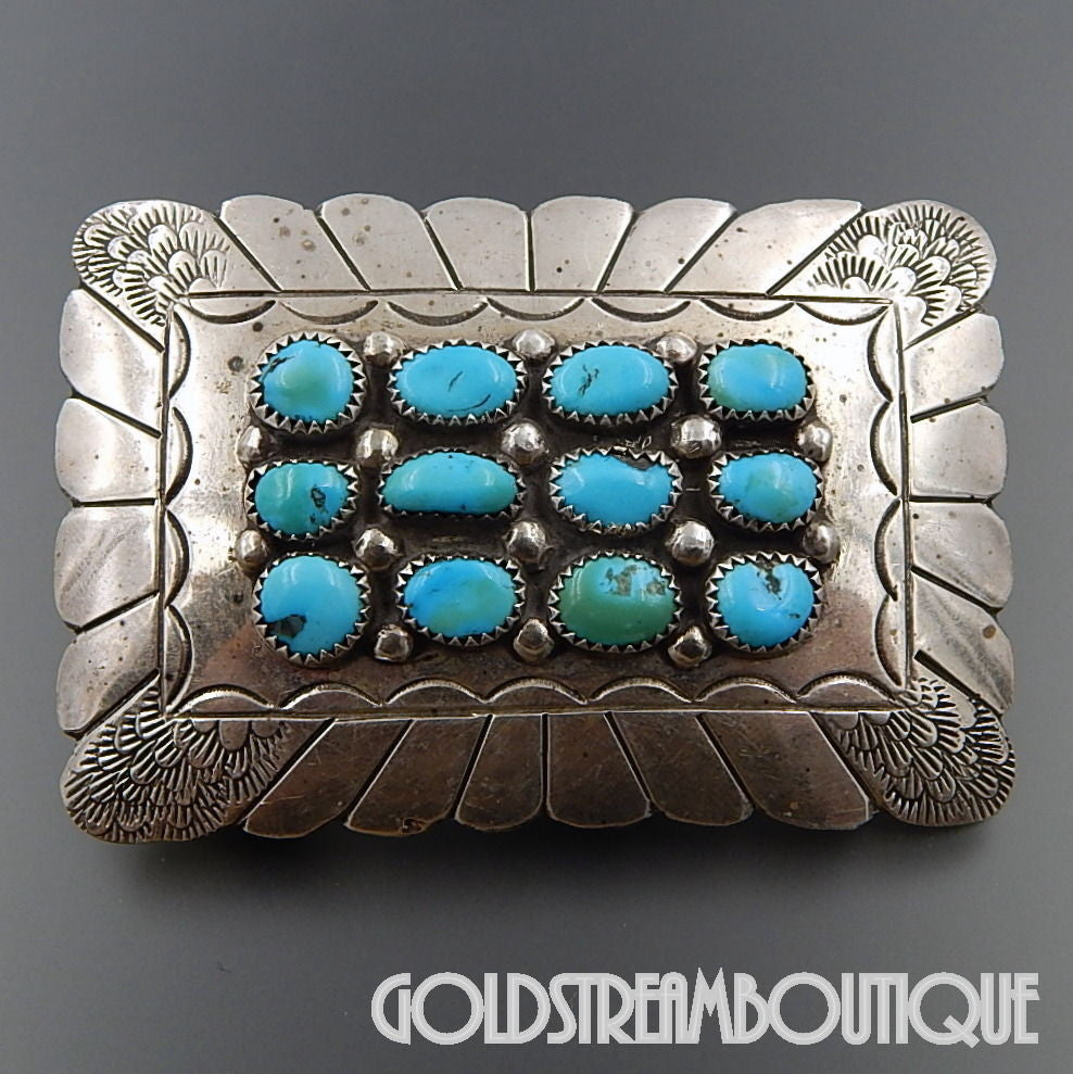 NATIVE AMERICAN VINTAGE SIGNED STERLING SILVER AMERICAN TURQUOISE CLUSTER STAMPED BELT BUCKLE