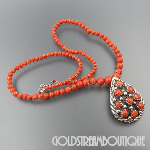 Native American Ella cowboy Navajo sterling silver coral cluster tear drop beaded necklace 17""