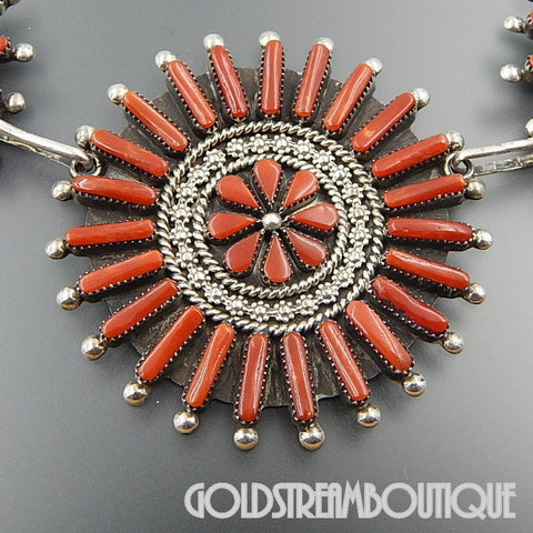 A. Pinto native american zuni sterling silver red coral cluster floral statement necklace 20.5""