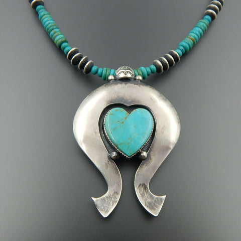 Handcrafted sterling silver American turquoise heart naja beaded necklace 21""