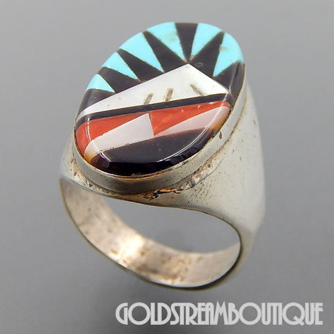 Native American Leslie Gladys Lamy zuni sterling silver mosaic multi gemstone inlay oval ring size 11.5