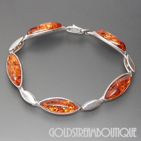 VALERIO 888 NYC 925 SILVER MARQUISE HONEY AMBER WAVE BRACELET FOLD-OVER CLASP