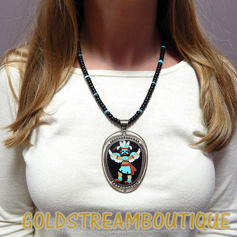 Native American Beverly Stsate zuni 925 silver gemstone kachina reversible beaded solid necklace 21""
