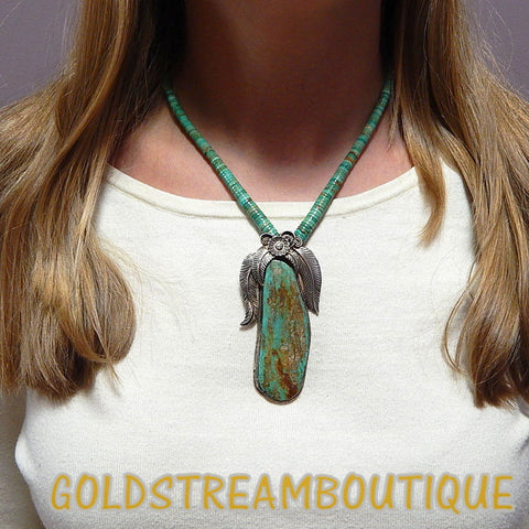 NATIVE AMERICAN VINTAGE NAVAJO STERLING SILVER HUGE GREEN TURQUOISE FEATHERS BEADED NECKLACE